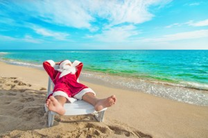 Santa On Beach Pic